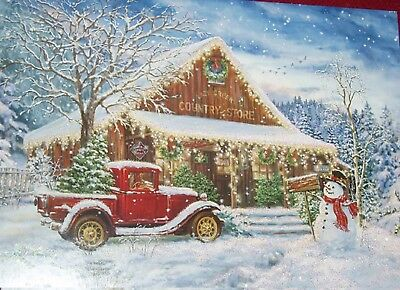 18 Christmas cards Country Store Old Red Truck with Tree Glitter