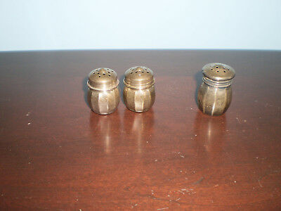 3 Vintage sterling silver salt and pepper shakers mini individual