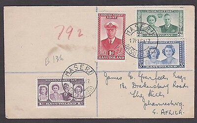 1947 Basutoland to South Africa Registered Cover Royal Visit 1 Sh.6d Rate