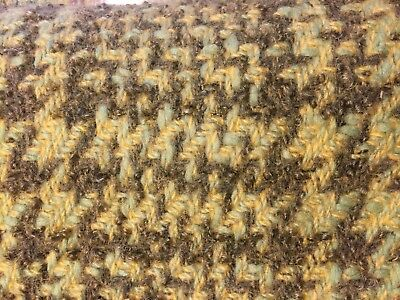 Vintage woolen fabric remnant wool mix plaid green yellow green heavy weave 1y