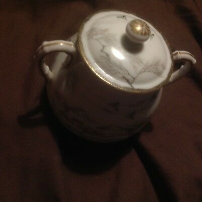 Japanese Porcelain Sugar Bowl Kutani ?Hand Painted Rural Scenes with 3 red marks