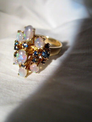 BEAUTIFUL antique 14K Gold Opal sapphire Ring JELLY OPAL  size 7   5.5 grams