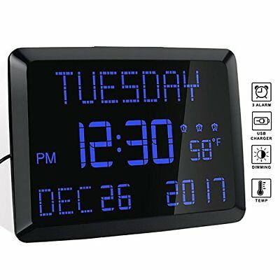 "Digital Alarm Clock, 11.5"" Extra Large Display LED Digital Desk & Wall Calendar"