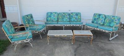 Vintage 6 PC Wrought Iron Patio Set With Rockers & Glider
