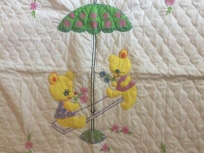 Vtg Handcrafted White Needlepoint Bears See Sawing Heirloom Eyelet Baby Quilt