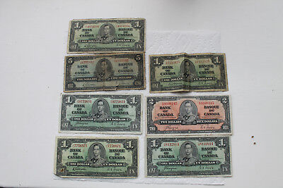 Canada Banknotes, 1 Dollar, 2 Dollar, 5 Dollars from 1937 (7 notes total)