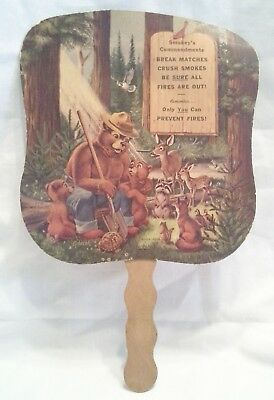 Vintage 1940's Smokey the Bear Minnesota State Parks Hand Fan