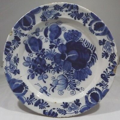 Antique English Blue & White Salt-Glazed Earthenware Pottery Charger Plate