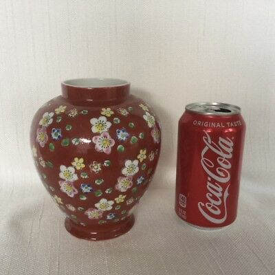 "Chinese Red Porcelain Old Vase 6""*5"" Rusty Red Floral Design Marked Japan"
