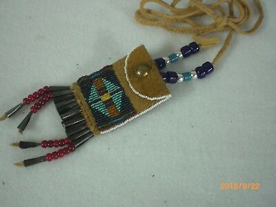 Beaded Native American Neck Bag, Smoked, Brain Tan, Old Style                 #2