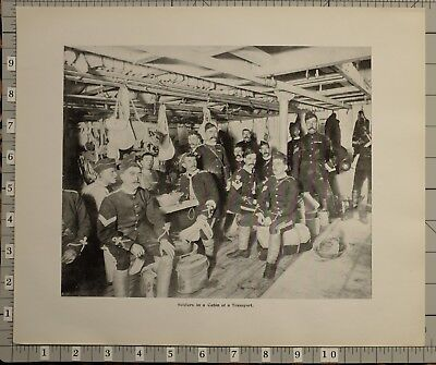 1899 Boer War Era South Africa Print Soldiers In A Cabin Of A Transport