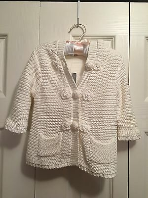 Baby Girl's Infant Long Sleeve Crocheted Button Up Sweater Cardigan 3-6 Month