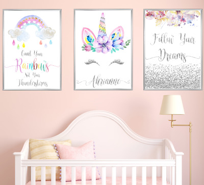Unicorn Personalised Name Nursery Prints Set Baby Girl Bedoom Art 3 Pictures