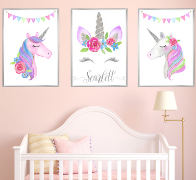 Silver Personalised Name Unicorn Nursery Prints Set 3 Baby Girl Room Art Picture
