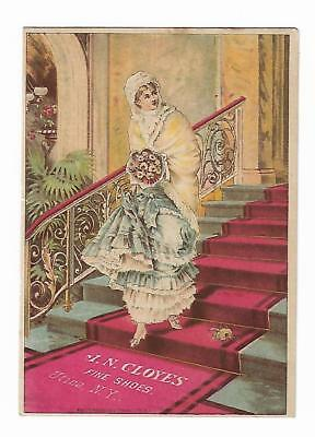 Old Trade Card JN Cloyes Fine Shoes Utica NY Woman Bouquet Stairs