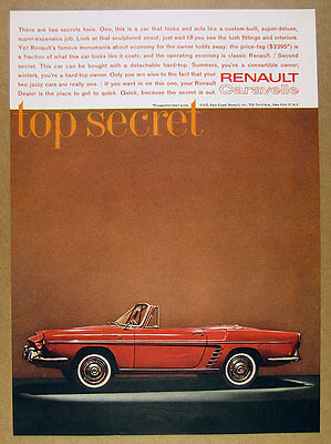 1961 Renault Caravelle Convertible red car photo vintage print Ad