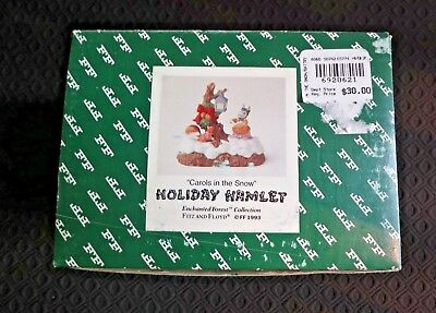 "Fitz and Floyd 1993 Holiday Hamlet ""CAROLS IN THE SNOW "" LIGHTED NO RESERVE!!"