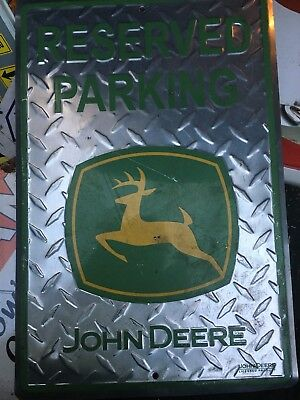 JOHN DEERE Parking Only Green & Yellow Metal Sign