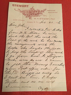 Ephemera 1896 Letter Of Payment From Stewart House Steam Heat Athens, New York