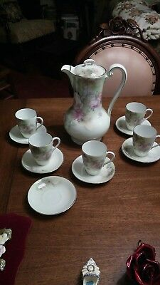 Vintage Weimar  Porcelain Chocolate-Cocoa Pot Set - 5 Cups & 6 Saucers - ROSES !