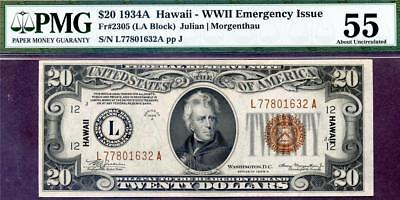 HGR SATURDAY 1934A $20 Hawaii ((RARELY Offered Grade)) PMG AU-55 (Looks UNC)
