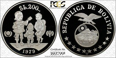 Bolivia 1979 Year of the Child KM-198 200 Pesos Silver Proof PCGS PR 68 DCAM