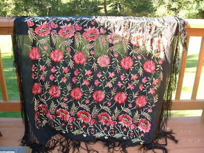 1920s 1930s Embroidered Silk Piano Shawl Vintage Antique Shawl