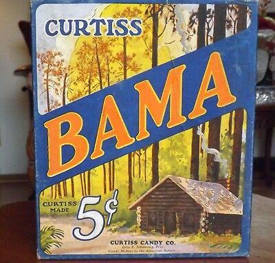 CURTISS CANDY Co. BAMA 1950's CANDY BAR BOX Empty 5 Cent GREAT GRAPHICS