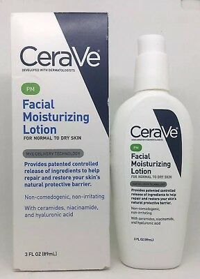 CeraVe PM Facial Moisturizing Lotion PM Ultra Lightweight 3 oz Brand New in Box
