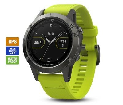Garmin Fenix 5 Multisport GPS Watch 47mm Slate Grey With Amp Yellow Band