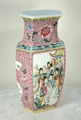 Antique Tall Chinese Porcelain Vase. Qianlong Famille rose Hand Painted 5 Women