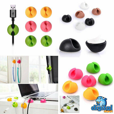6pcs Cable Clips Tidy Cord Lead Organiser USB Charger Holder Drop