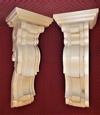 PAIR Vintage Design Wood Corbels.. 6 x 16-3/4 x 7 (SCW # 7306)