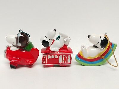 Lot of 3 Peanuts Snoopy Ceramic Ornaments