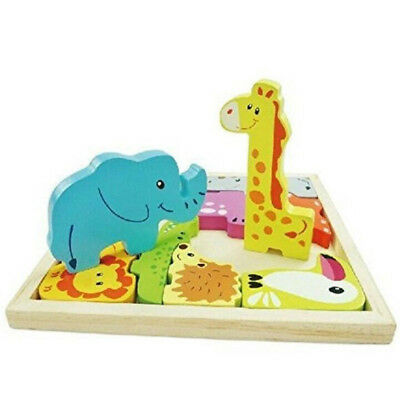 Wooden Animal Jigsaw Puzzle Early Learning Preschool Gift Children Kid Zoo Baby