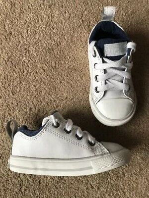 22a69c7949cc Converse All Star White Leather Trainers Pumps Shoes Uk Infants Size 6