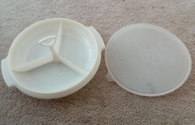! Vintage White TUPPERWARE  3 section tray with Lid & centre handle 9- 909