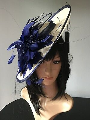 Suzanne Bettley Ivory And French Navy Blue Wedding Hat Disc Fascinator Formal