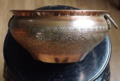 Persian Islamic Solid Copper Planter/Urn with Peacock Handles