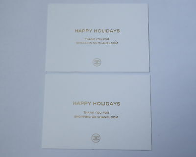 2 x chanel card happy holidays golden engraved blank white greeting 2 x chanel card happy holidays golden engraved blank white greeting cards lot m4hsunfo