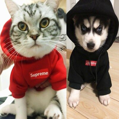 PET PUPPY CLOTHES Supreme Dog Hoodie Jumper Winter Apparel Sweater