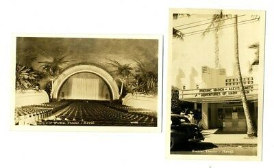 Waikiki Theatre Interior & Exterior Real Photo Postcards Honolulu Hawaii 1950's