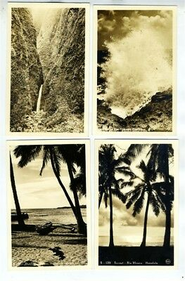 4 Hawaii Real Photo Postcards Blow Hole Sacred Falls Ala Moana Outrigger Canoe
