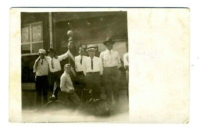 Barber Pole with Men Front of Barbershop Real Photo Postcard Boy Bicycle 1910's