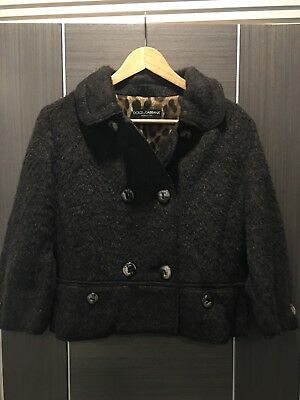 Ladies Luxury Dolce&Gabbana Brown Wool Blend Short Coat IT 46, UK 14