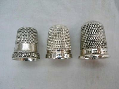3 Hallmarked Sterling Silver Thimbles.