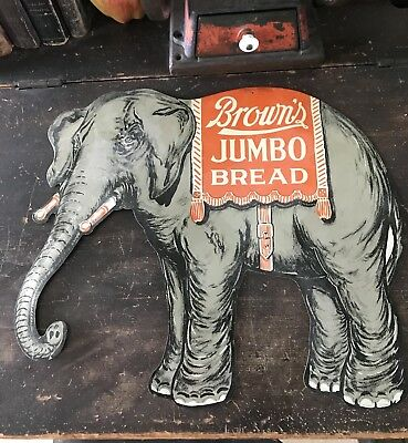 NOS Vintage Brown's Jumbo Bread Tin Sign Elephant