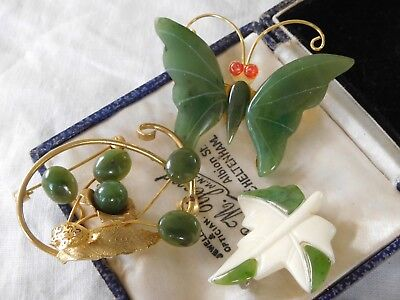 Three Lovely Vintage 1960s Genuine JADE Brooches