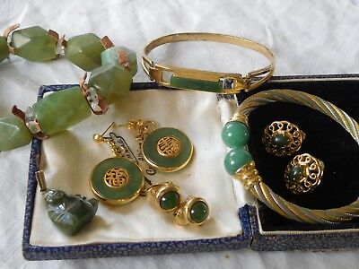 LovelyMixed Collection of Vintage 1950s/60s Genuine Jade Jewellery