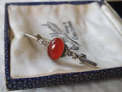 Beautiful Vintage 1950s Sterling Silver Marcasite Genuine Carnelian Brooch